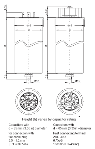Frako AC Capacitors - Dimensions